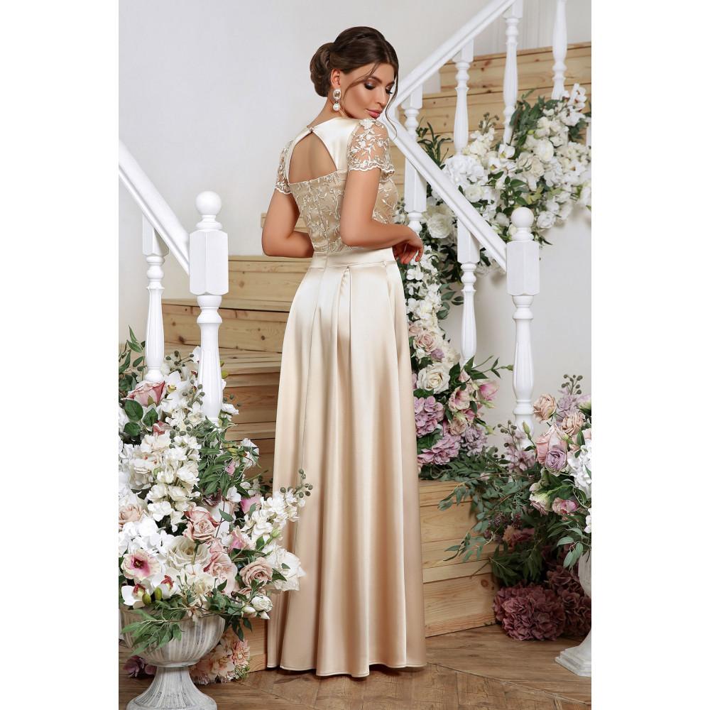Нарядное бежевое платье-макси Лорена фото 3