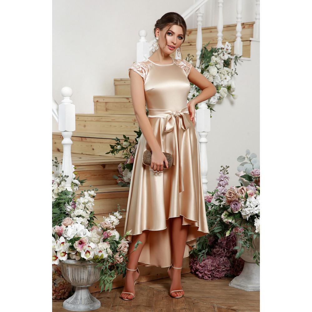 Нарядное атласное платье с удлиненной спинкой Нинель фото 2