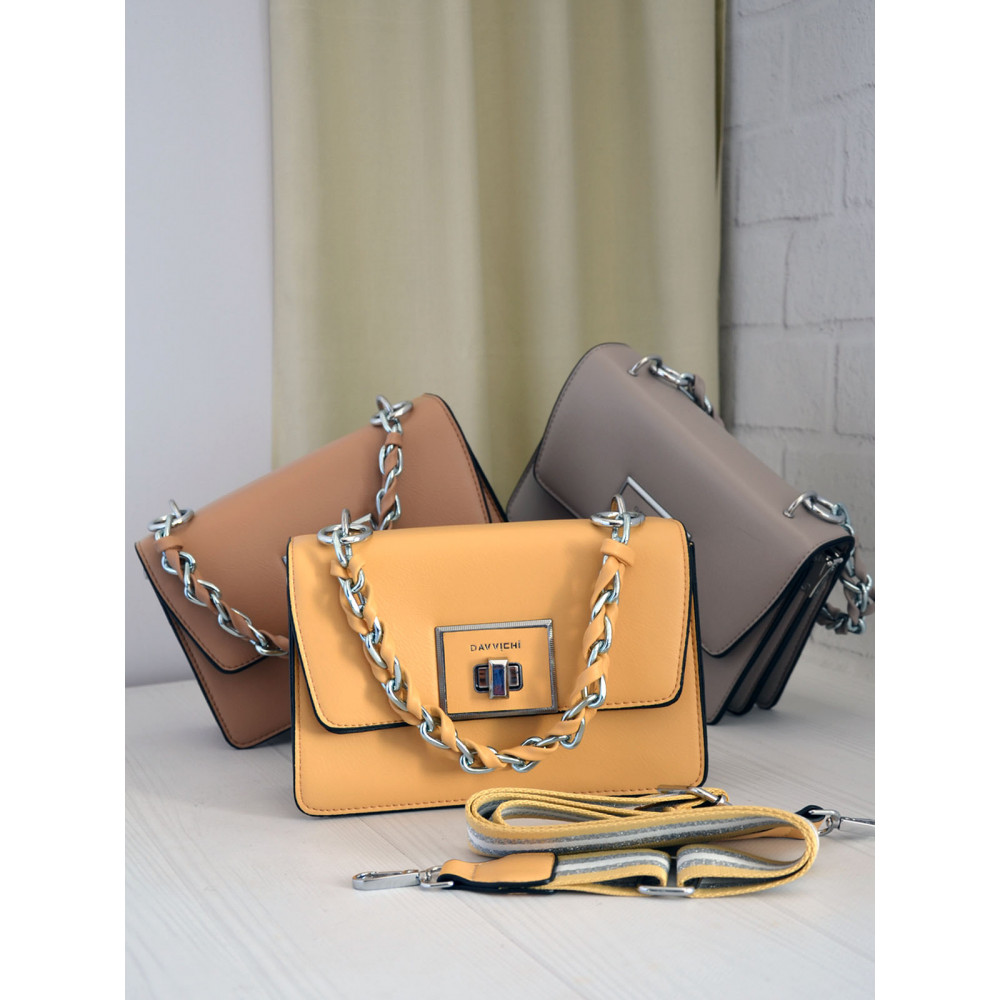 Желтая сумочка с плетеной ручкой Китти фото 1