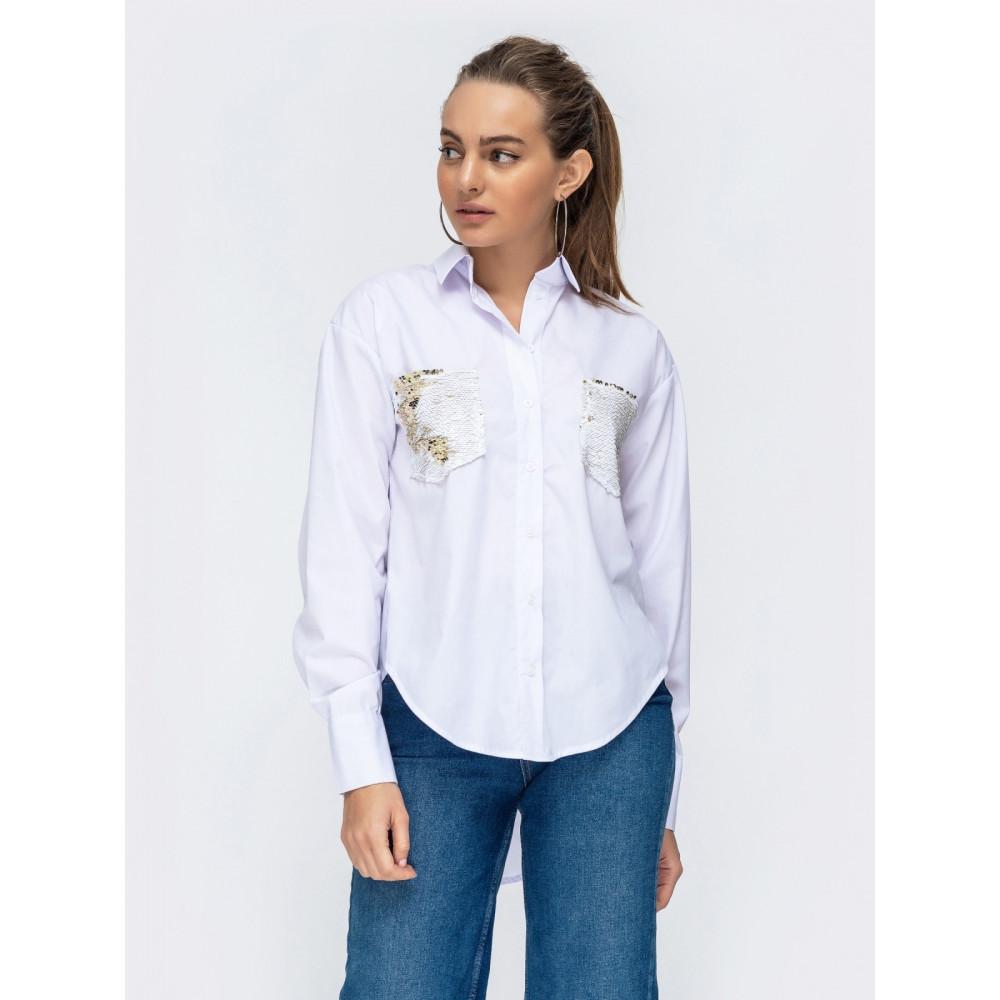 Белая хлопковая рубашка с пайетками фото 1