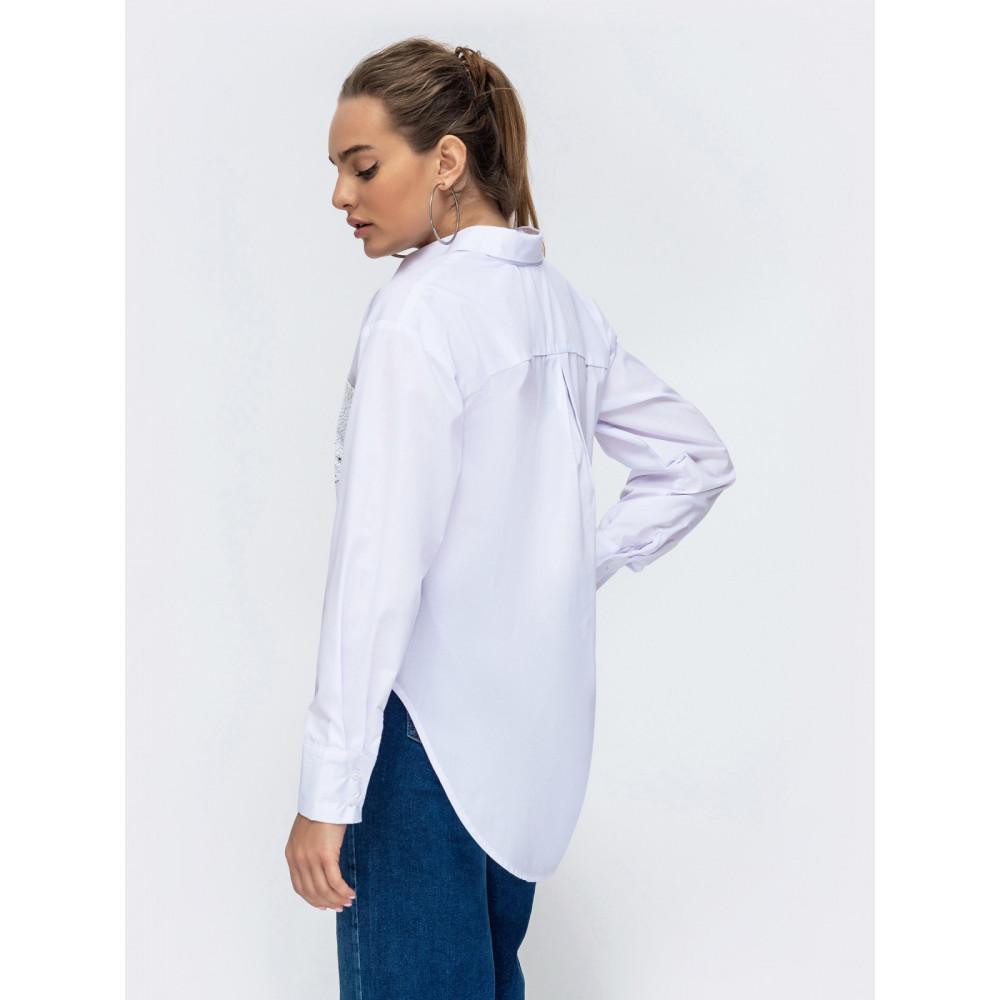 Белая хлопковая рубашка с пайетками фото 2