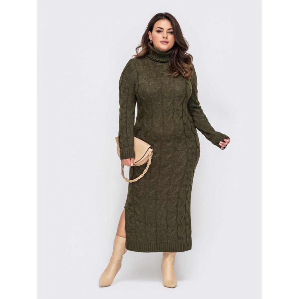 Зеленое платье-макси с разрезом Лали фото 1