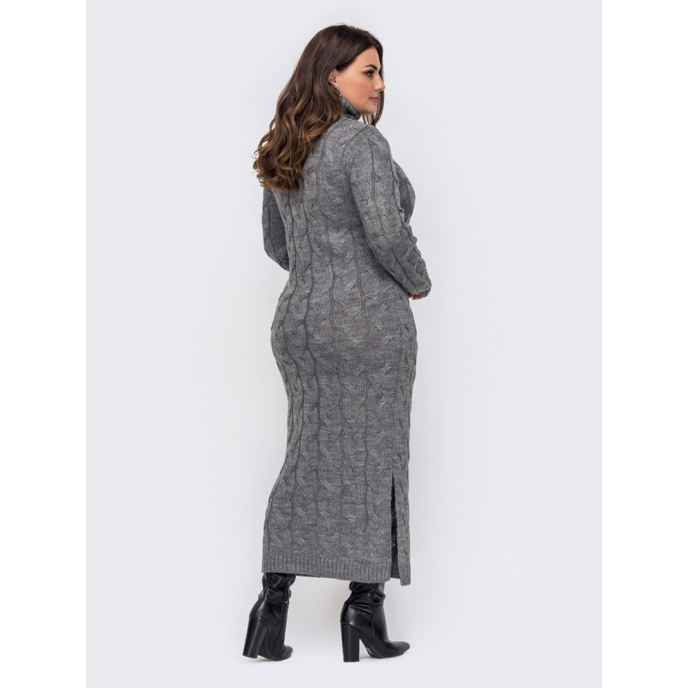 Вязаное платье-макси с разрезом Лали фото 3
