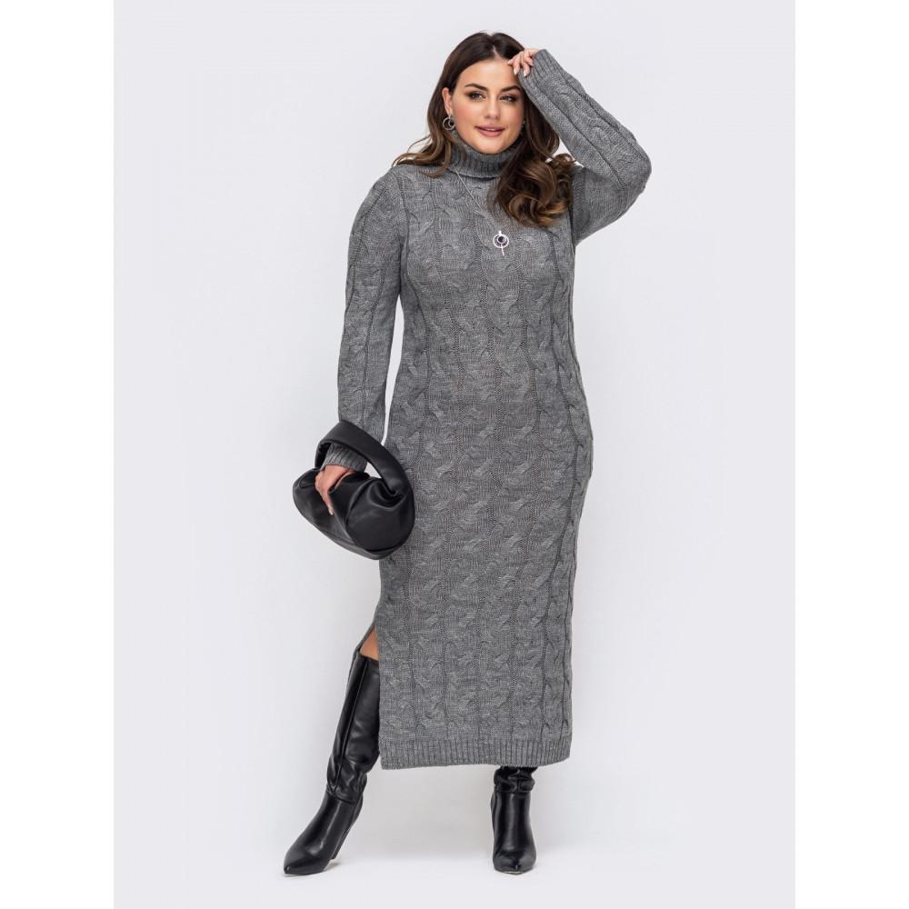 Вязаное платье-макси с разрезом Лали фото 1