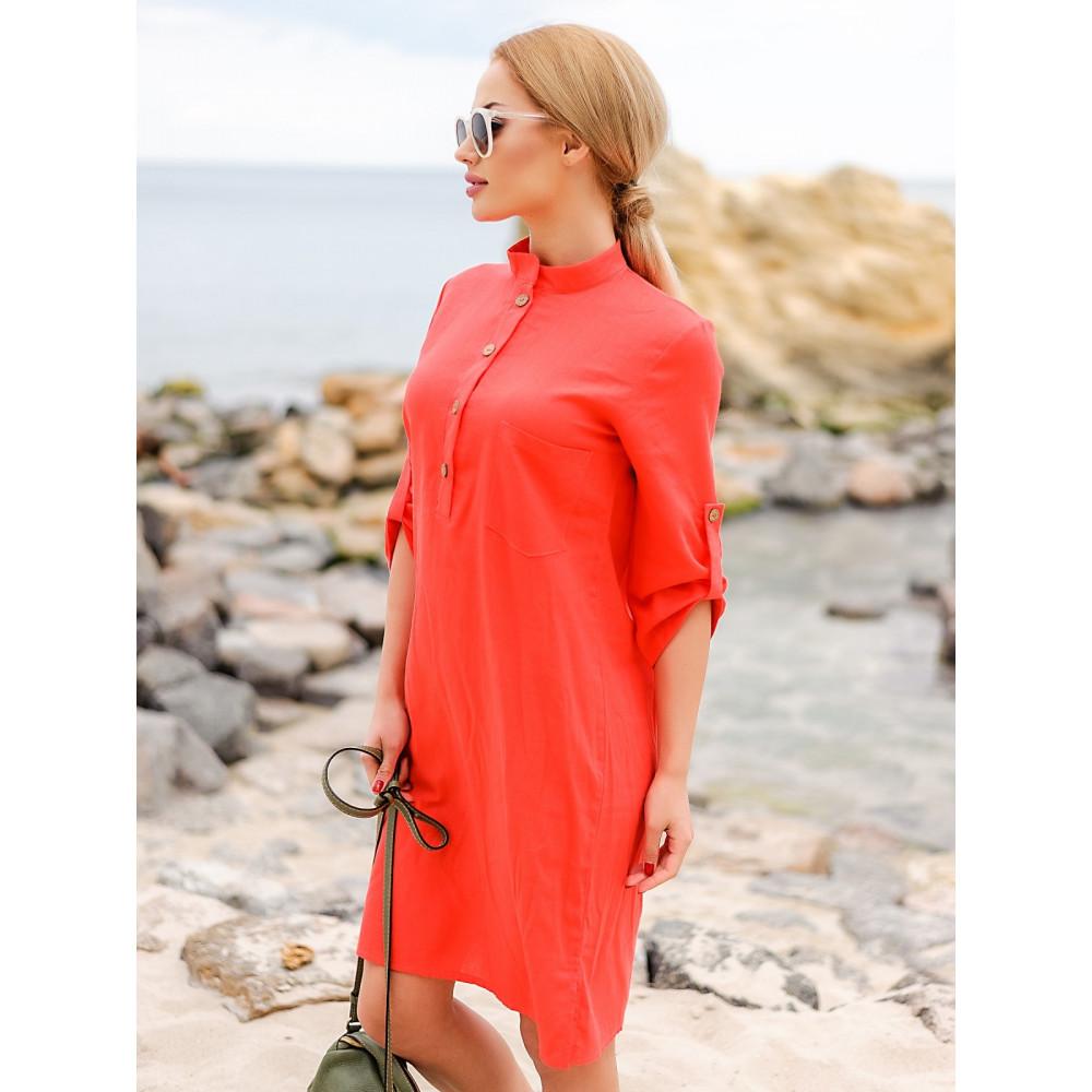 Коралловое платье из льна Мадейра фото 1