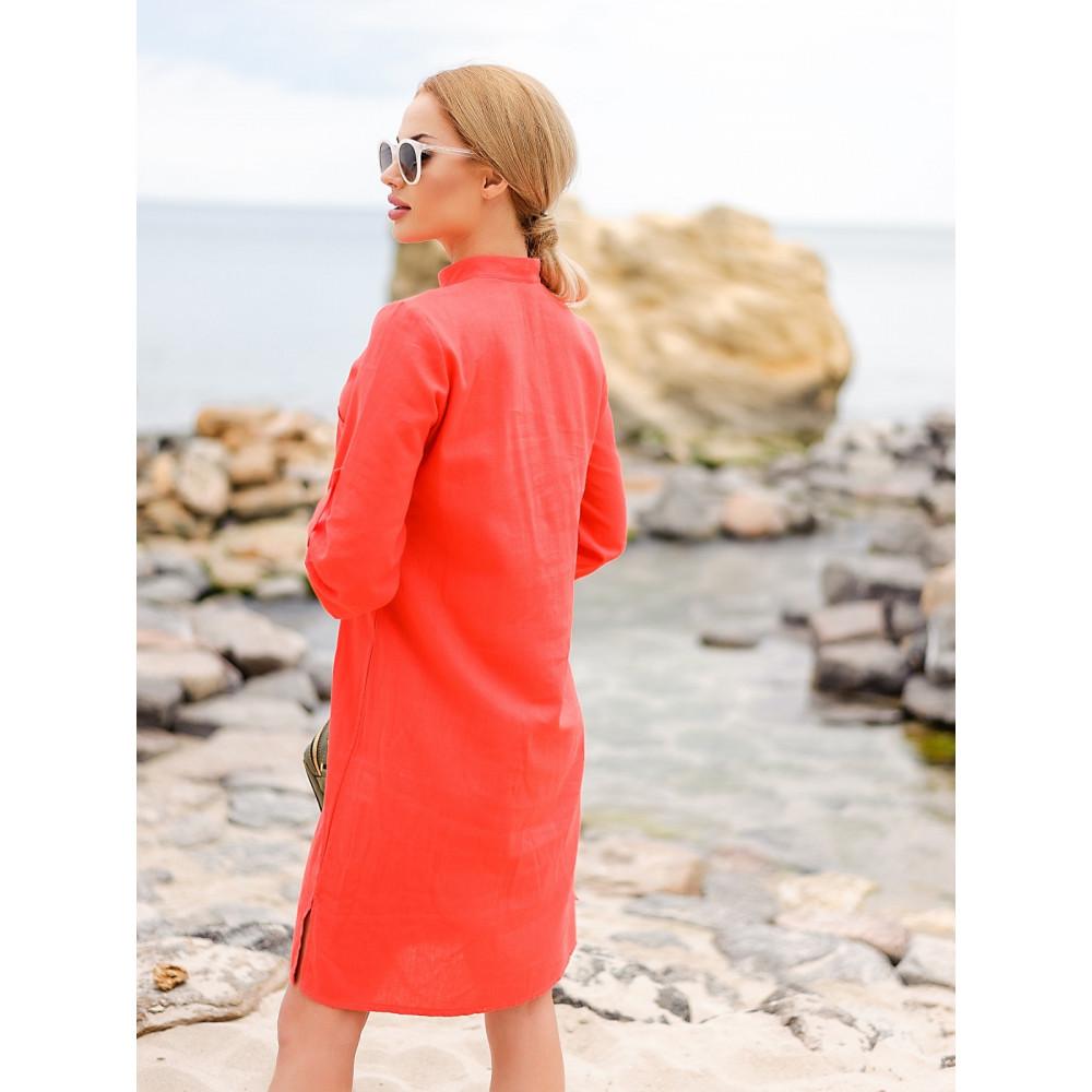 Коралловое платье из льна Мадейра фото 2