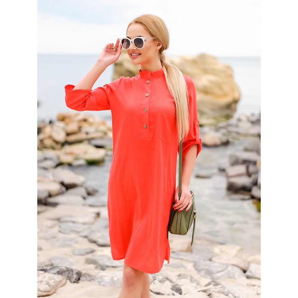 Коралловое платье из льна Мадейра фото 3