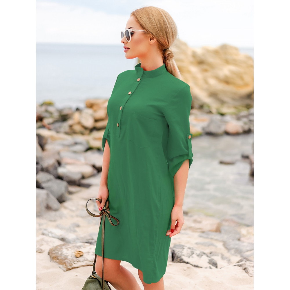 Изумрудное льняное платье-рубашка Мадейра фото 1