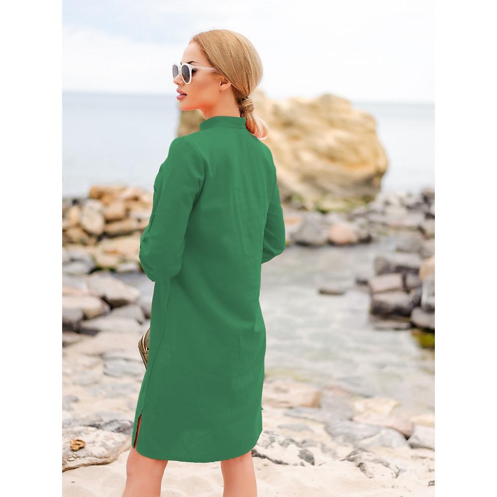 Изумрудное льняное платье-рубашка Мадейра фото 2