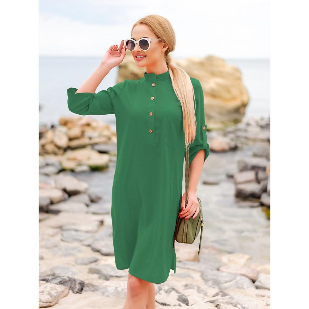 Изумрудное льняное платье-рубашка Мадейра фото 3