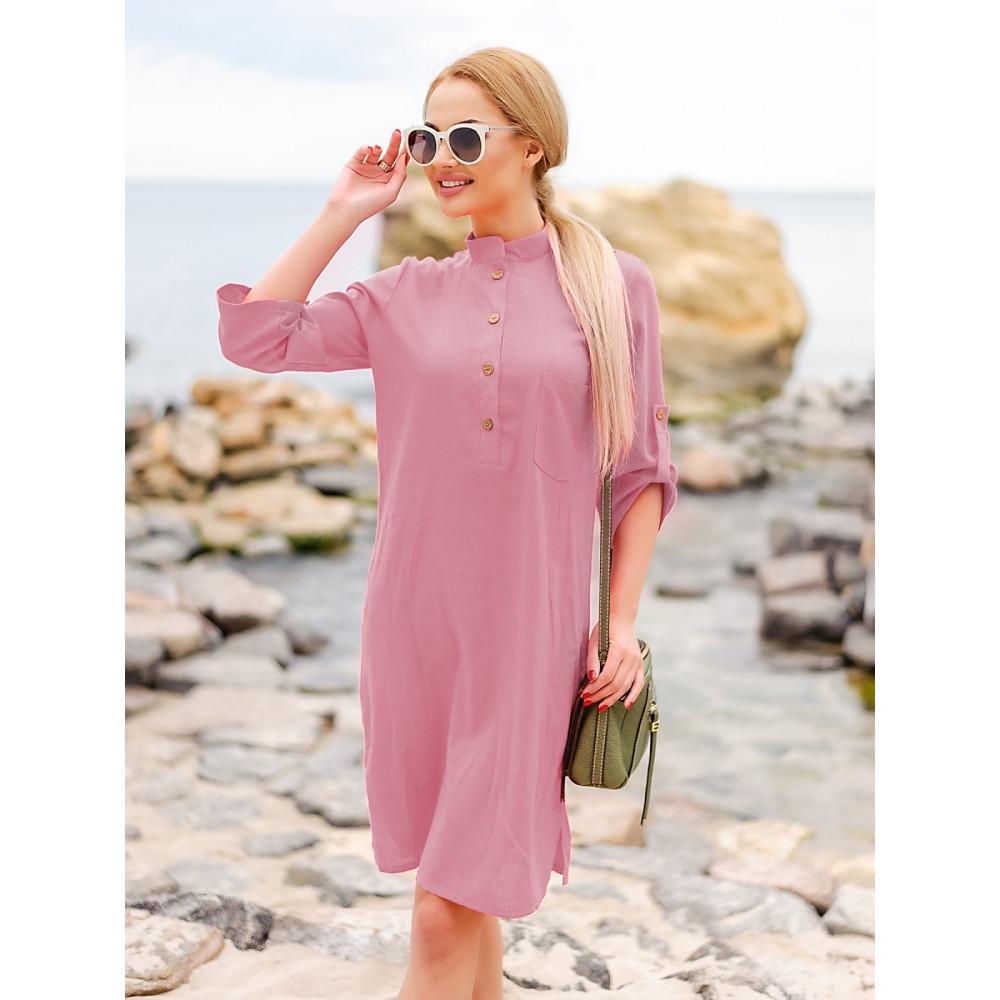 Красивое розовое платье-рубашка Мадейра фото 1