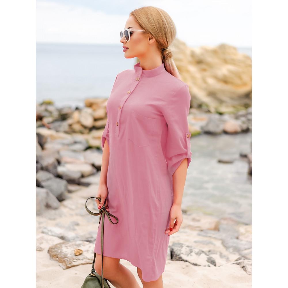 Красивое розовое платье-рубашка Мадейра фото 2