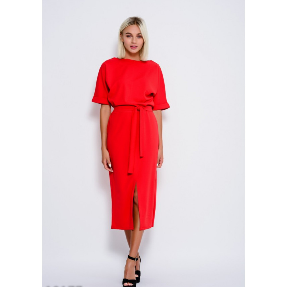 Красное платье-миди Рут фото 1