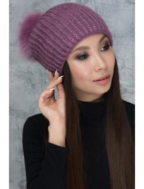 Сиреневая шапка с красивым помпоном Фрости