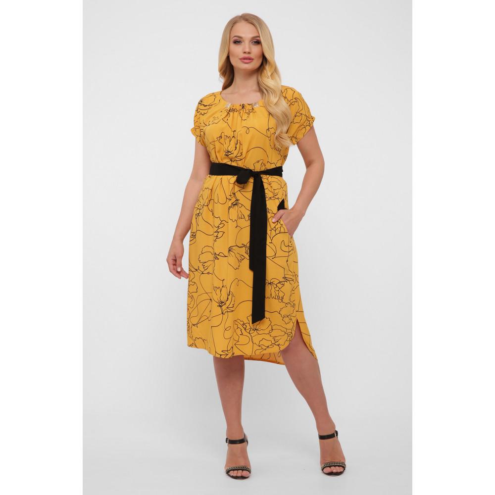 Горчичное летнее платье из штапеля Патрисия фото 1