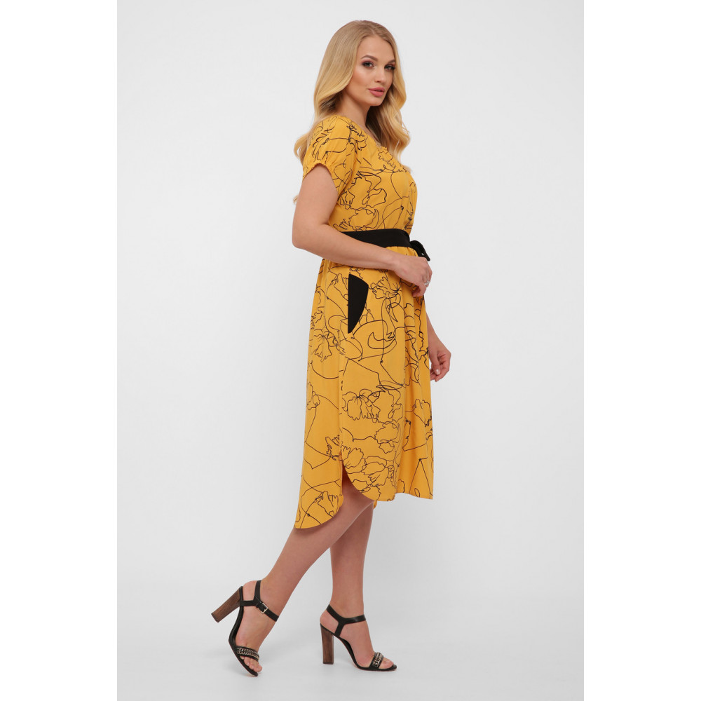 Горчичное летнее платье из штапеля Патрисия фото 2