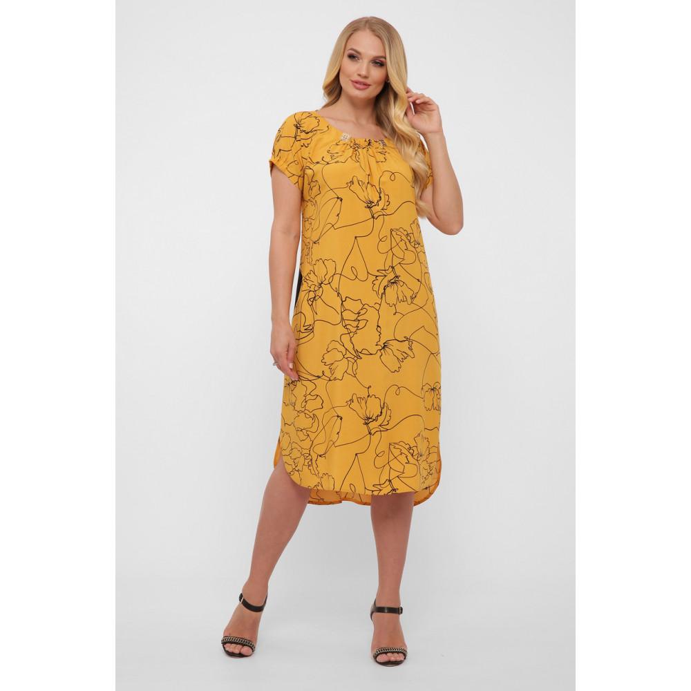 Горчичное летнее платье из штапеля Патрисия фото 3
