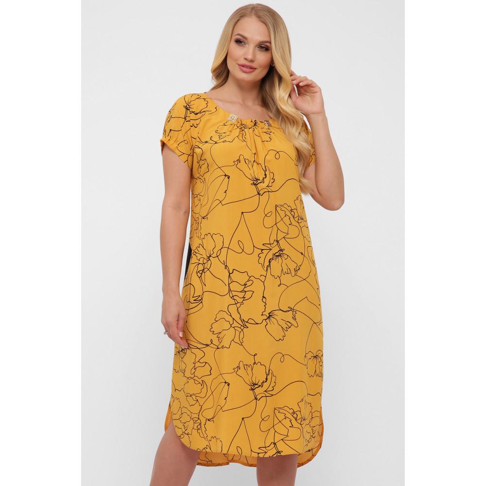 Горчичное летнее платье из штапеля Патрисия фото 4