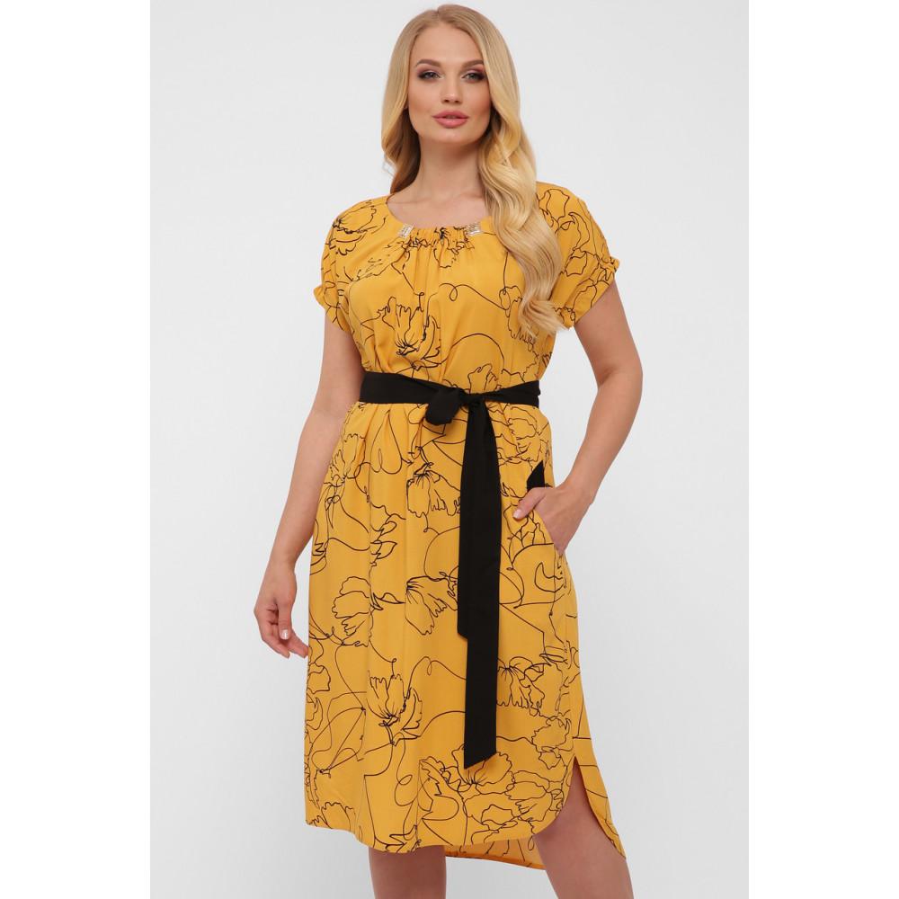 Горчичное летнее платье из штапеля Патрисия фото 5