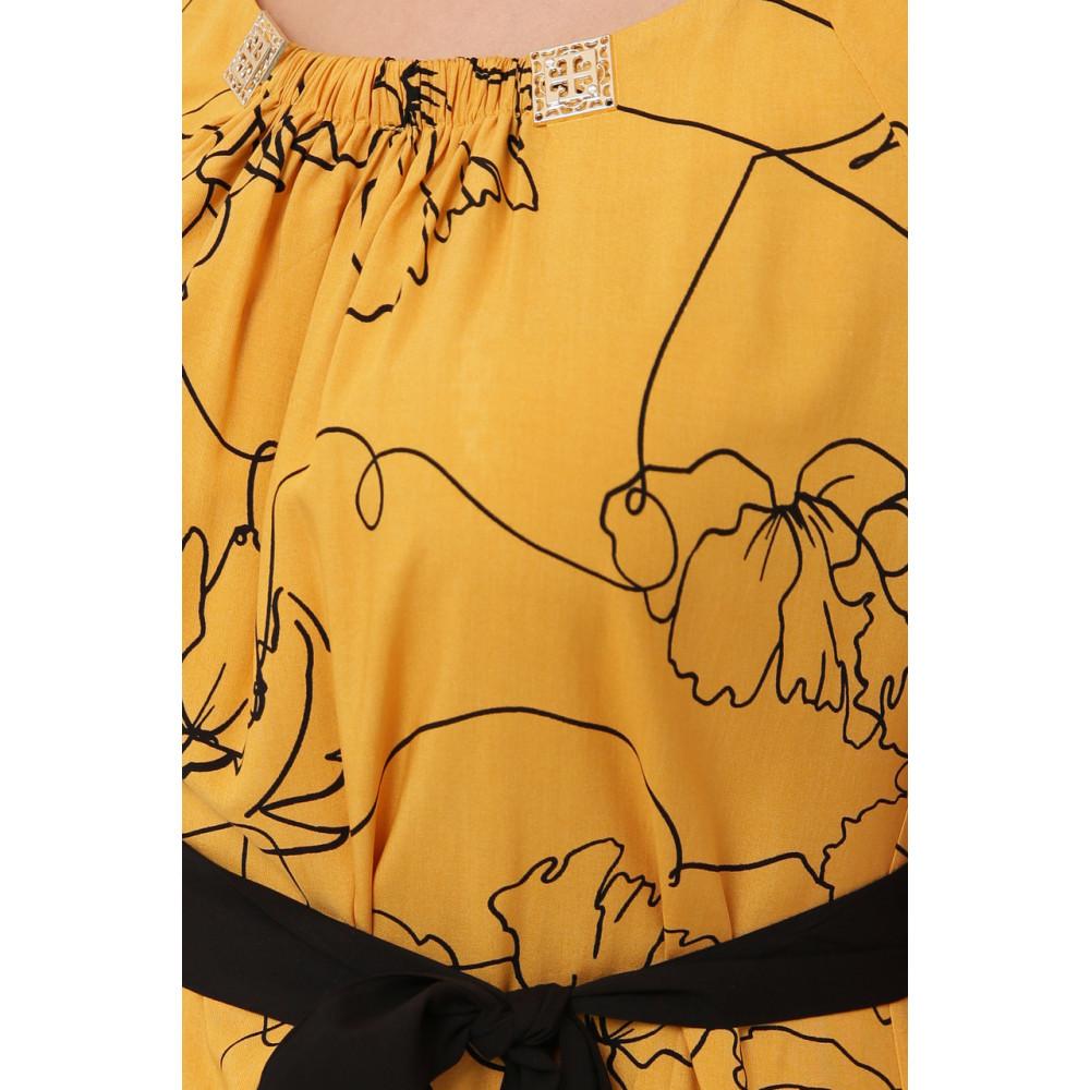 Горчичное летнее платье из штапеля Патрисия фото 6