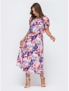 Принтованное платье из шифона с легким напуском