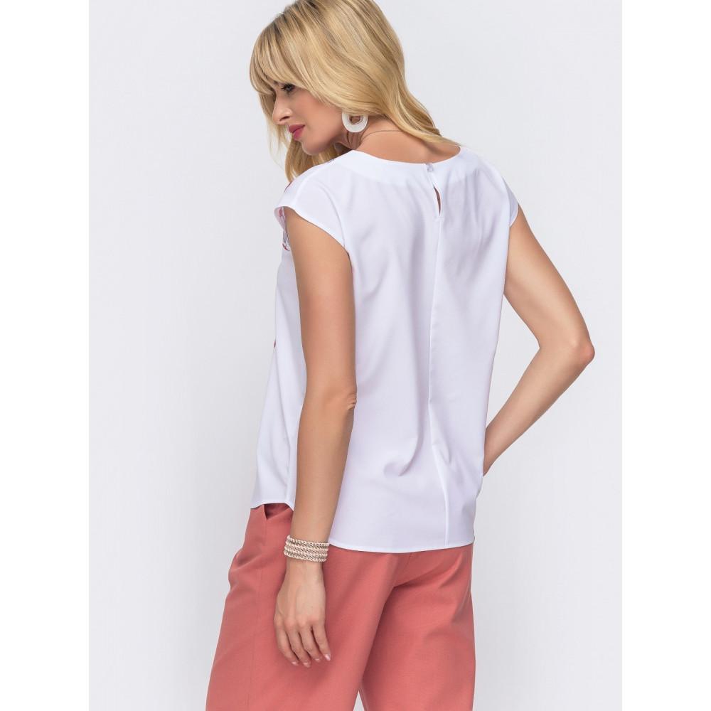 Белая блузка с ярким флористическим принтом фото 2