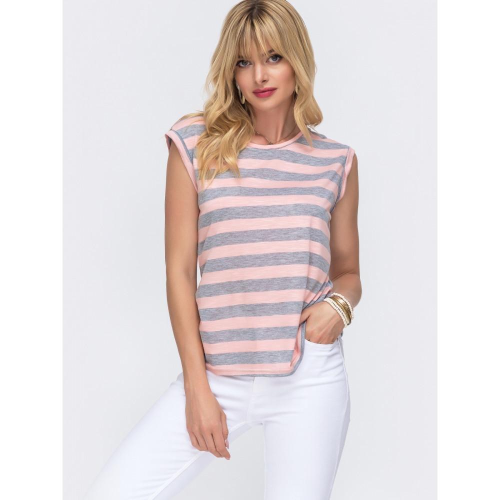 Женская футболка в серую полоску фото 1