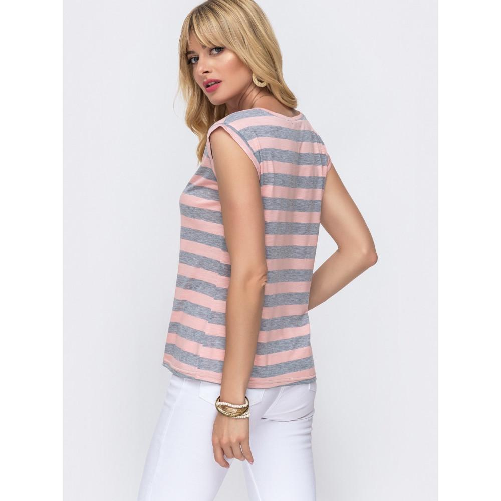 Женская футболка в серую полоску фото 2