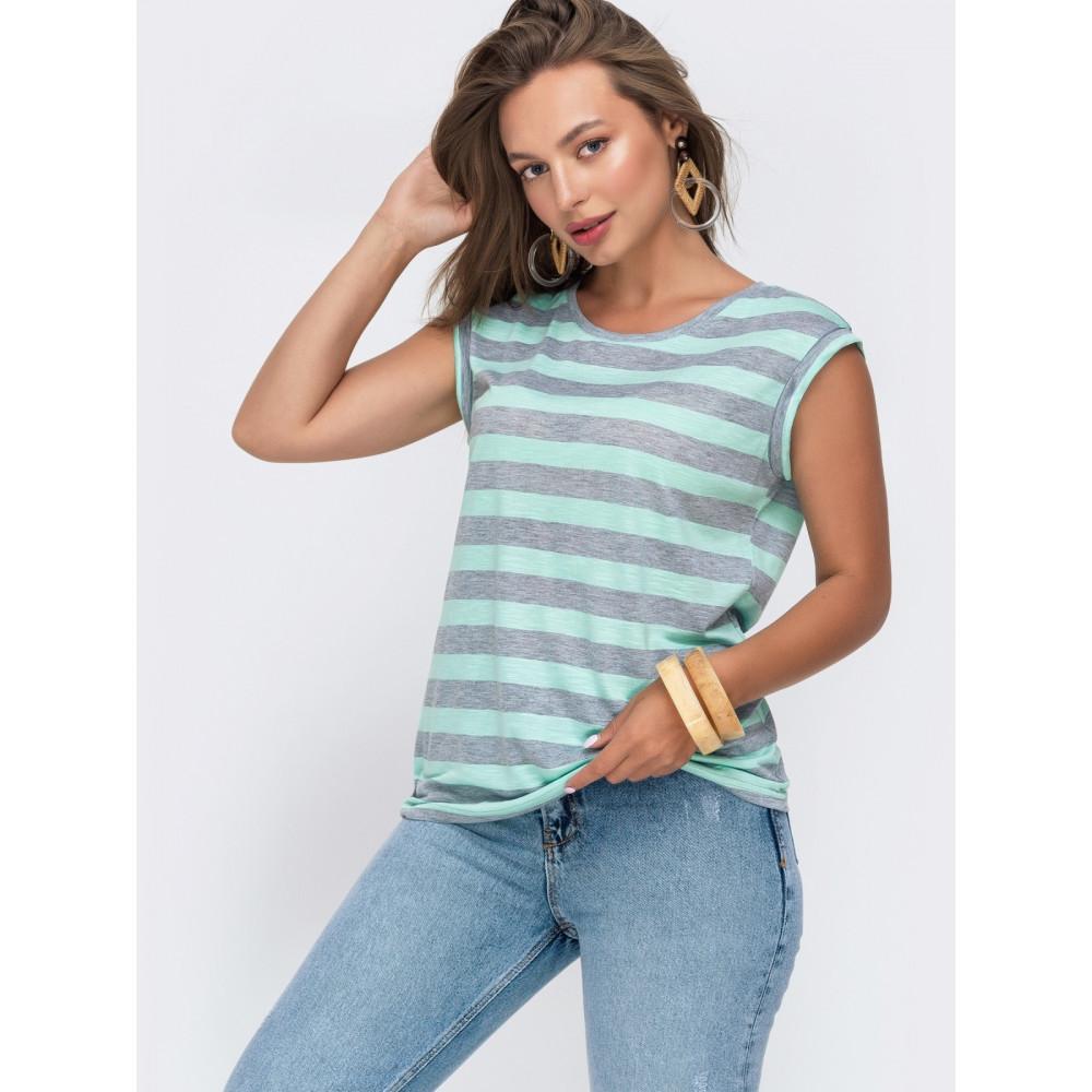 Стильная футболка в серую полоску из вискозы фото 1