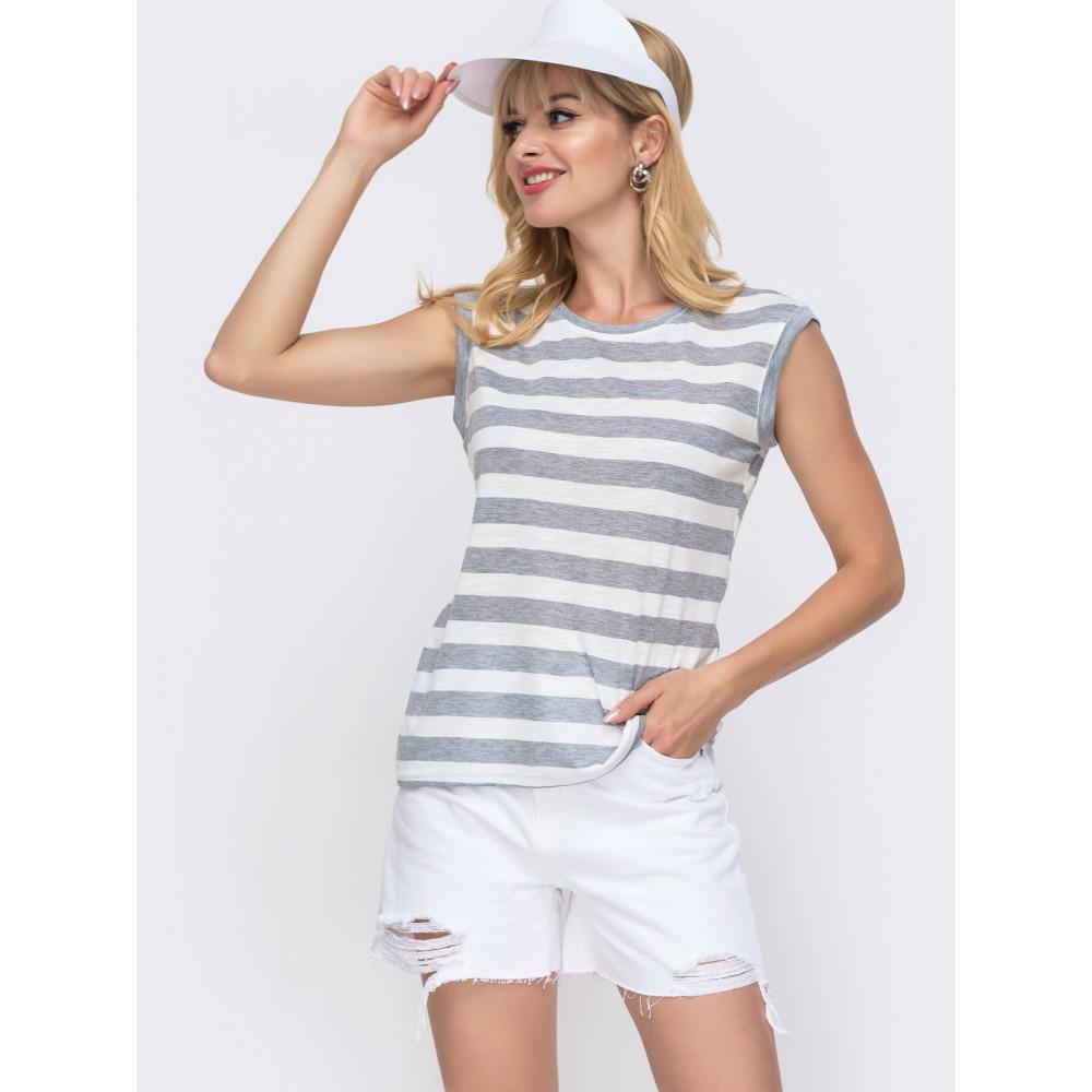 Базовая бело-серая полосатая футболка фото 1