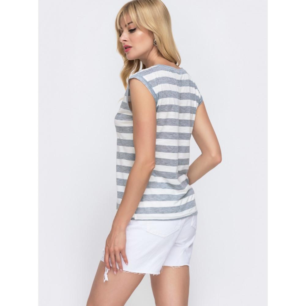 Базовая бело-серая полосатая футболка фото 2