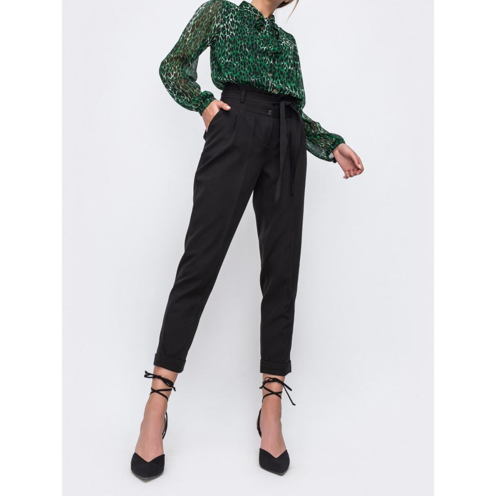 Черные укороченные брюки с подворотами фото 1