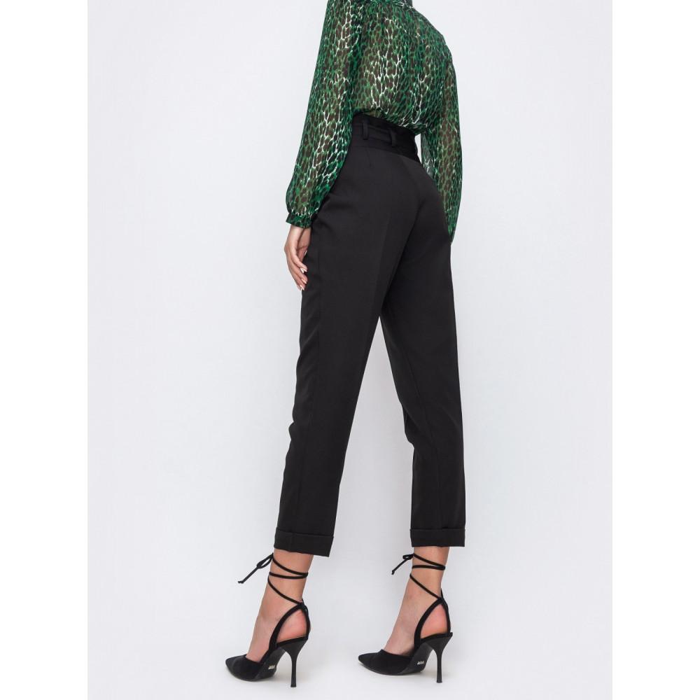 Черные укороченные брюки с подворотами фото 2