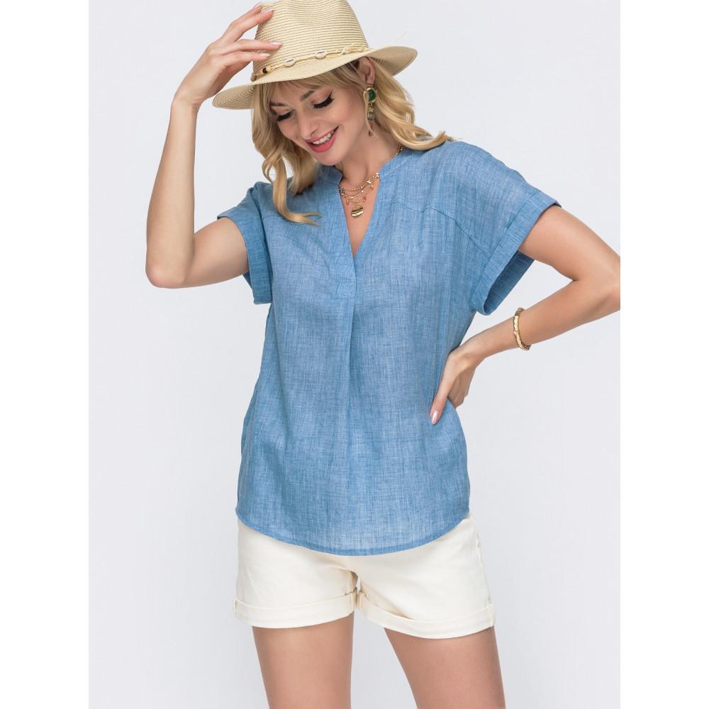 Свободная блузка из лёгкого хлопка с V-образным вырезом фото 1