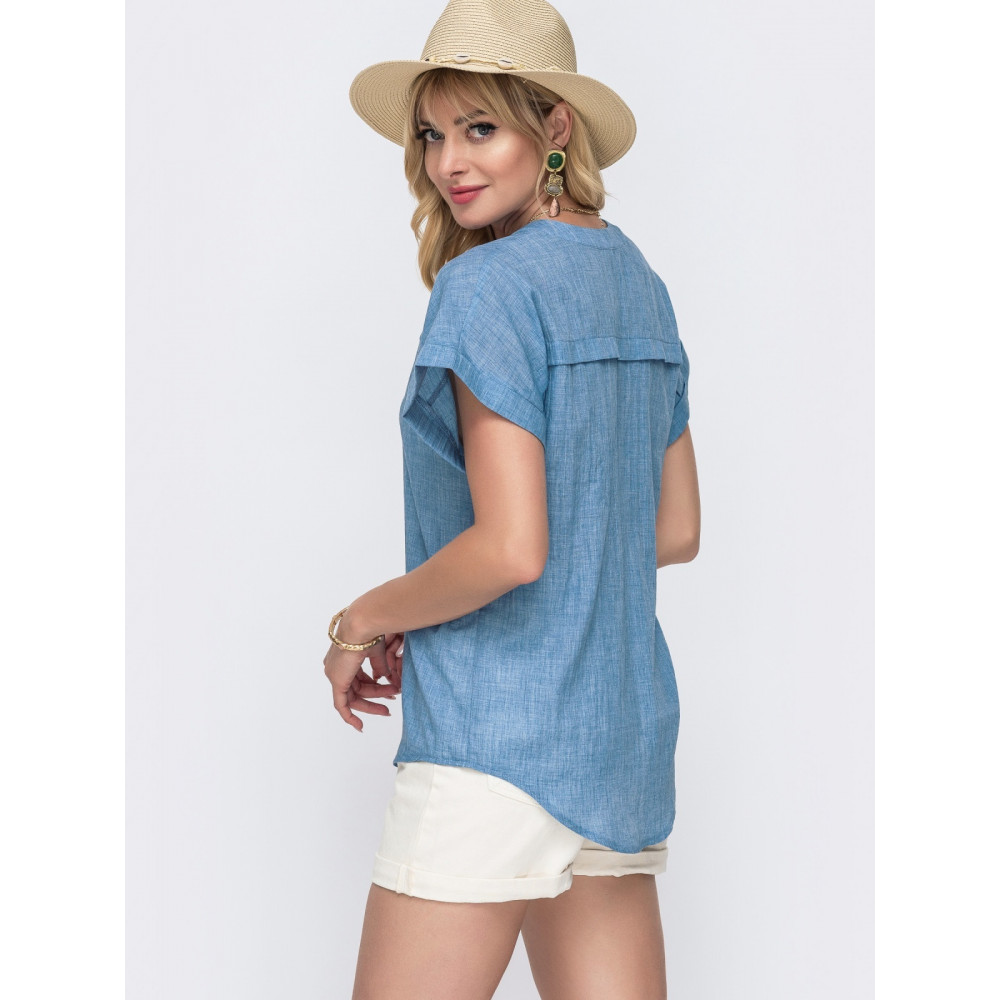 Свободная блузка из лёгкого хлопка с V-образным вырезом фото 2