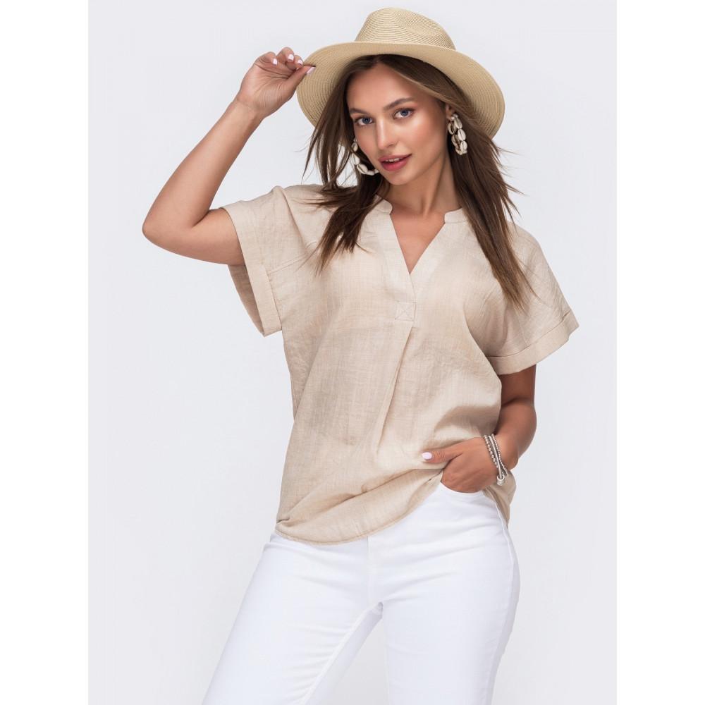 Летняя блузка из лёгкого хлопка с V-образным вырезом фото 1