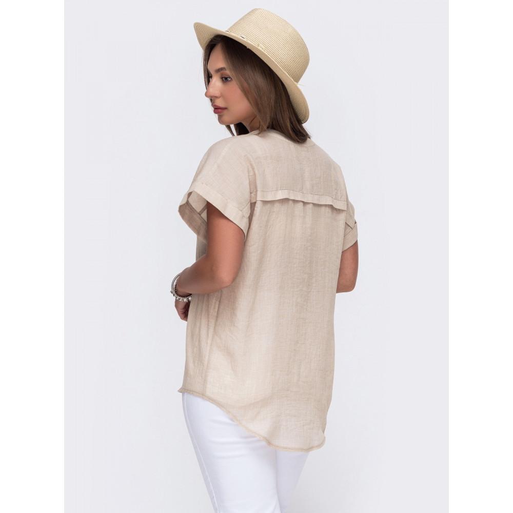Летняя блузка из лёгкого хлопка с V-образным вырезом фото 2