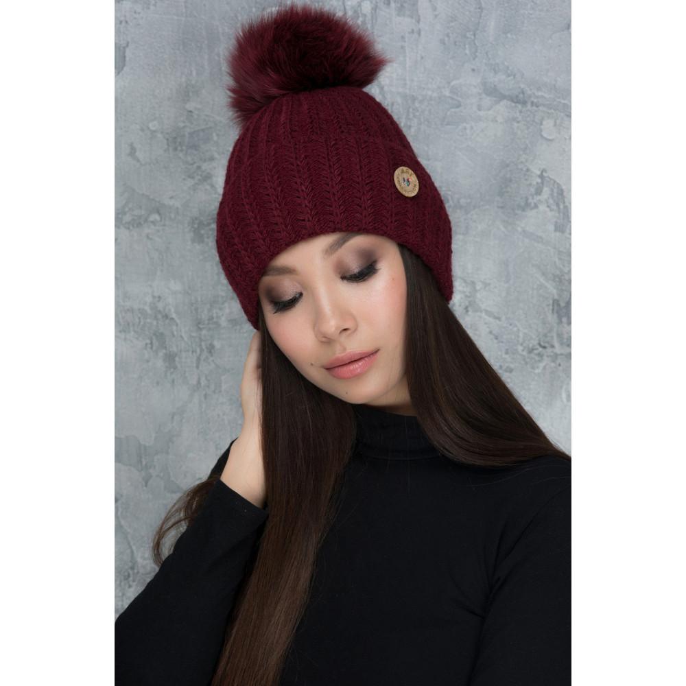 Бордова шапка з помпоном Муза фото 1