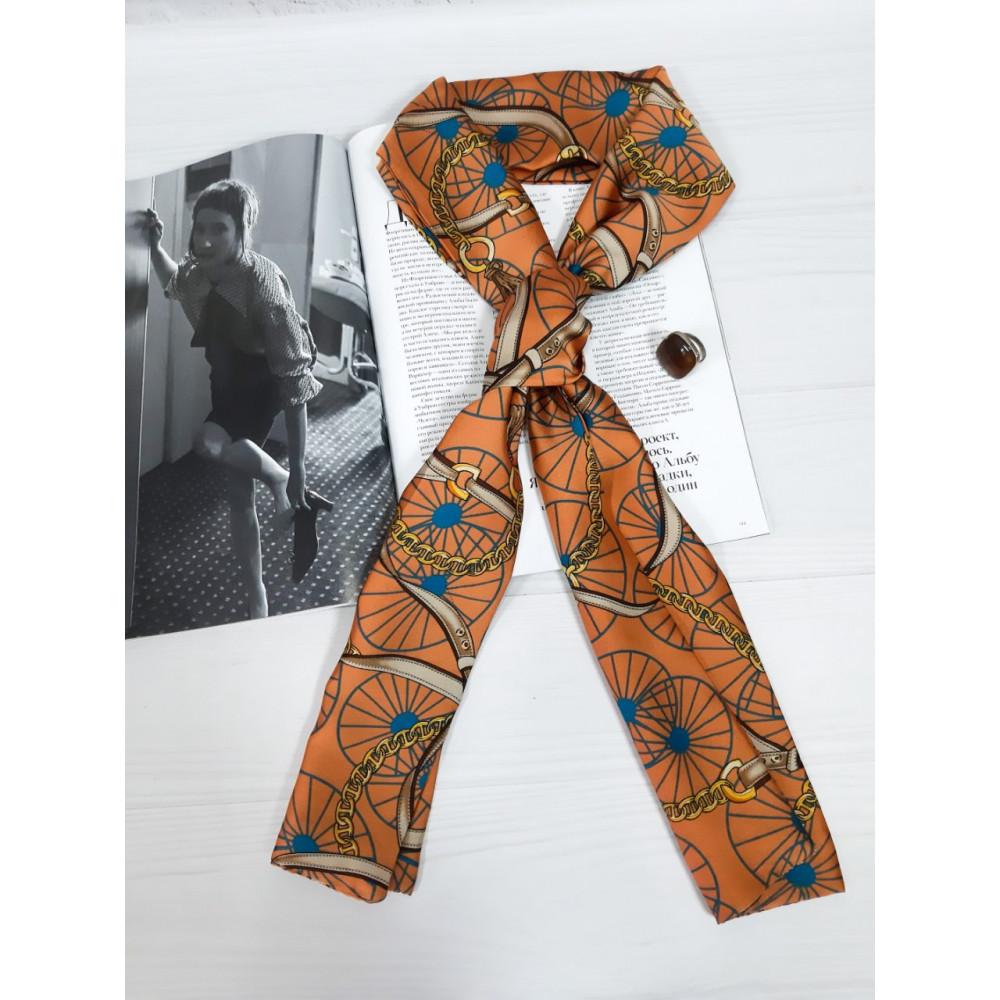 Красивый оранжевый шарф-галстук фото 1
