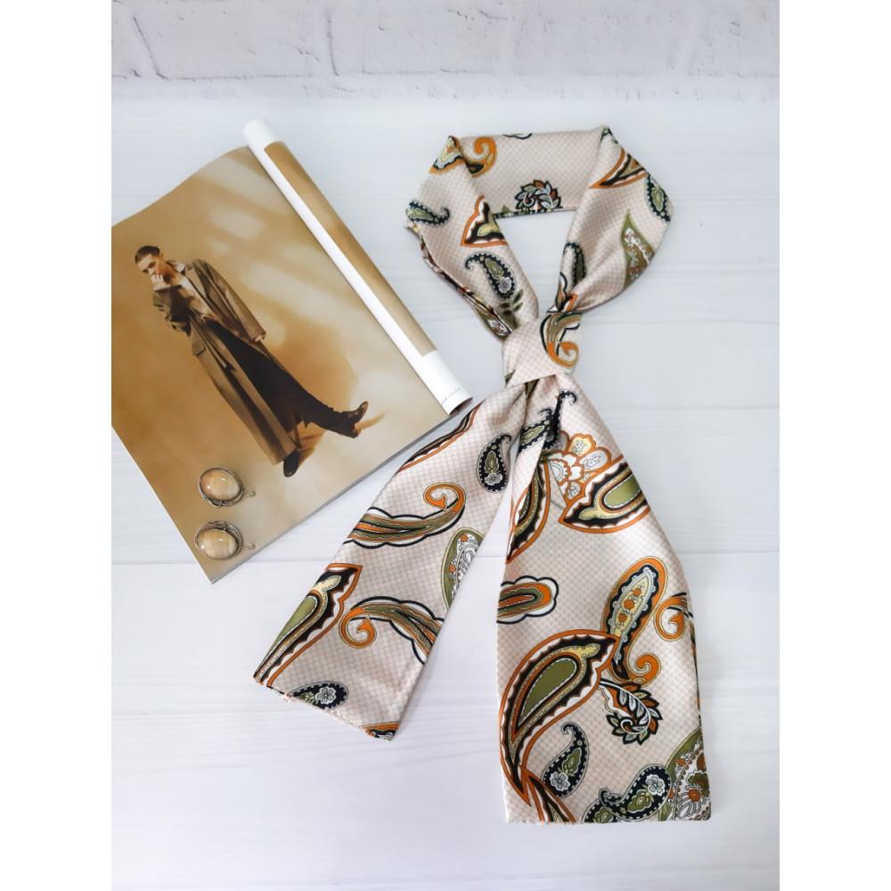 Бежевый шарф-галстук в модный принт фото 1