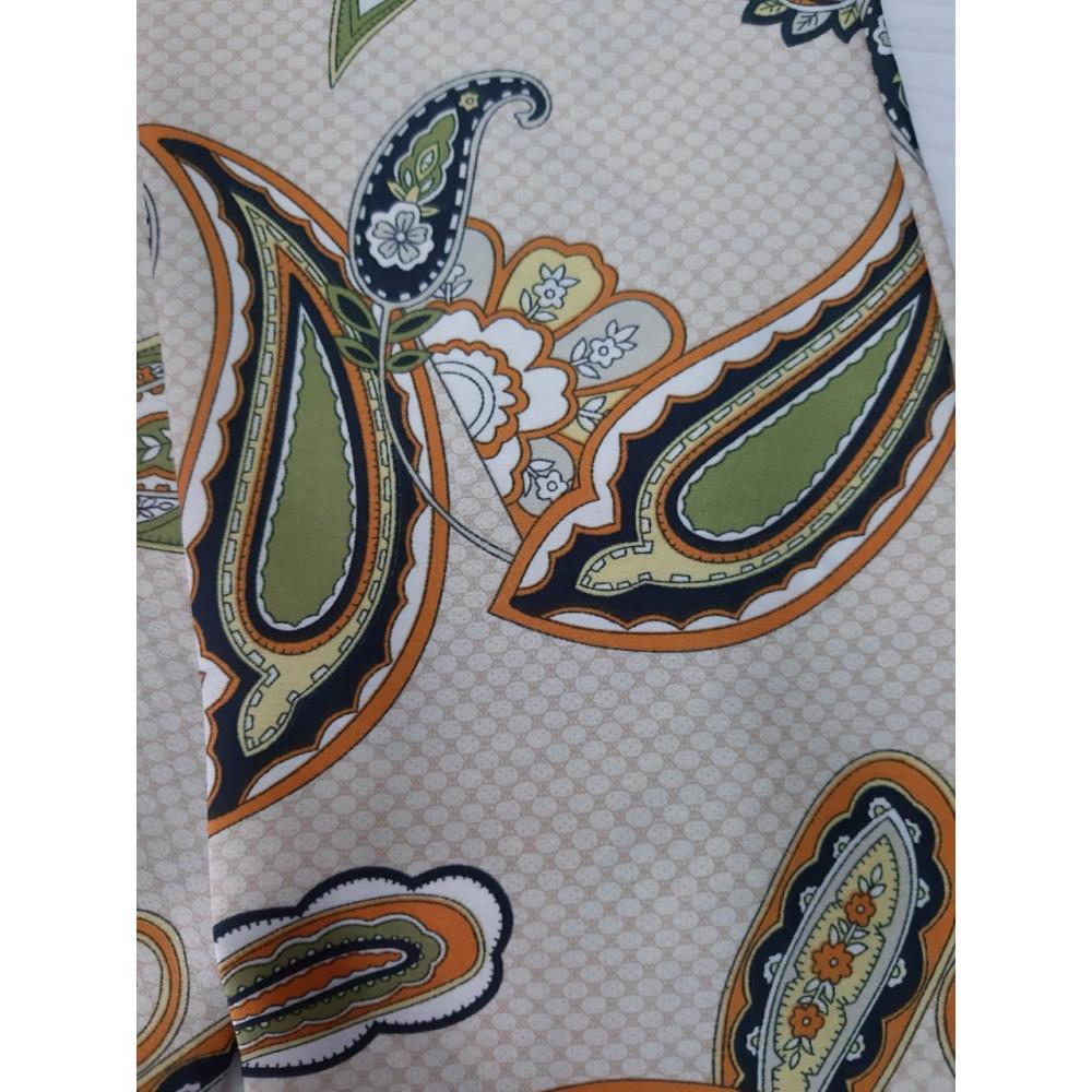 Бежевый шарф-галстук в модный принт фото 3