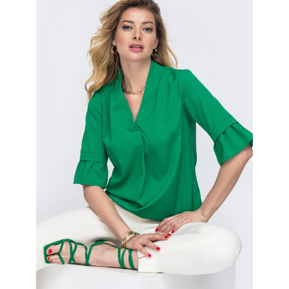 Зеленая блузка с рукавом 3/4 Мира фото 1