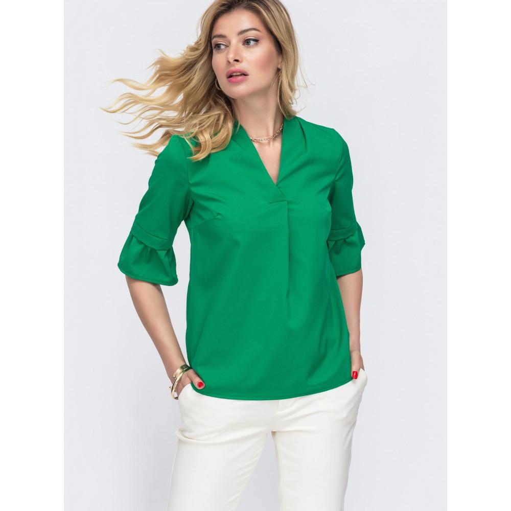 Зеленая блузка с рукавом 3/4 Мира фото 2