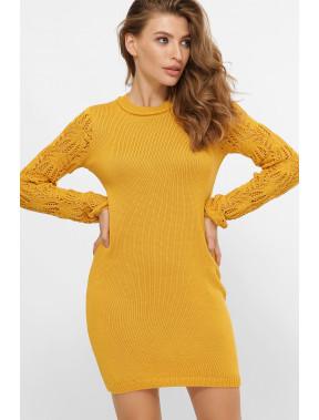 Вязаное платье Виена горчичного цвета