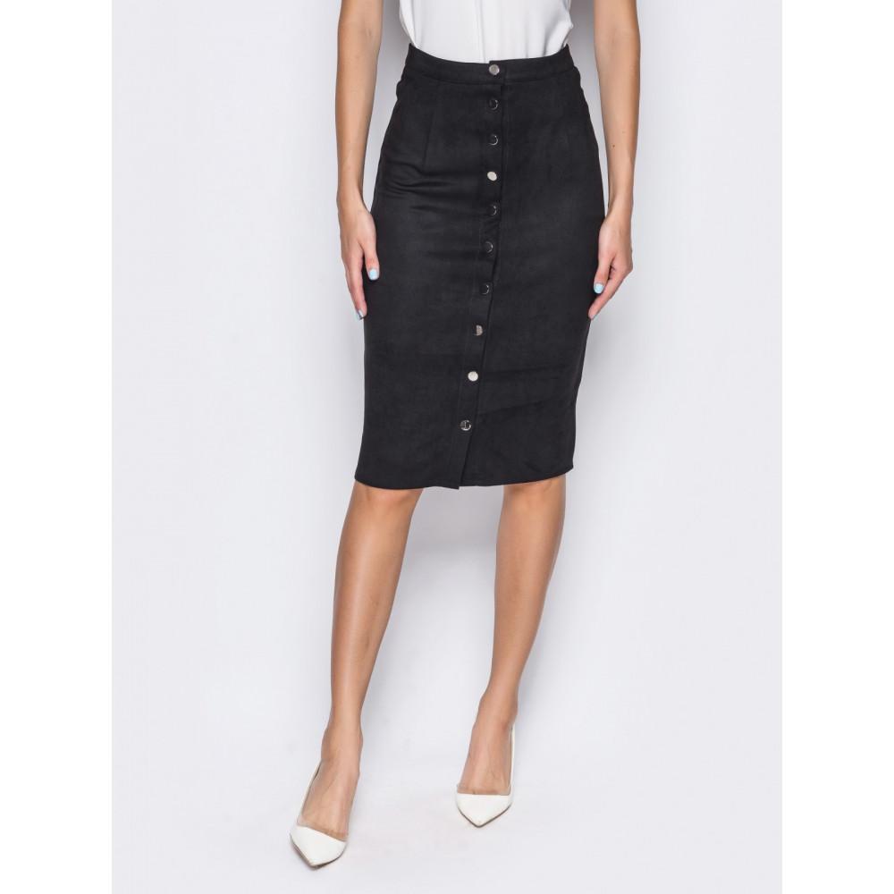 Женская юбка-карандаш черного цвета фото 2