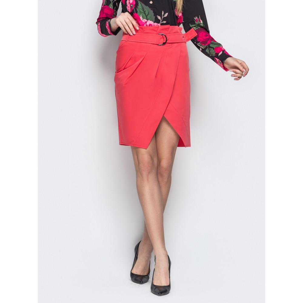 Красная юбка-тюльпан из коттона фото 1