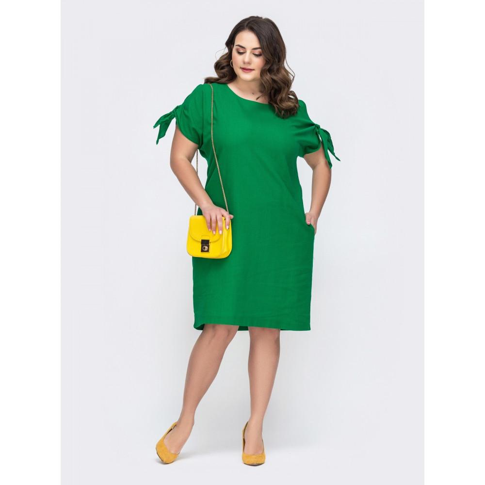 Изумрудное платье свободного кроя с карманами фото 1