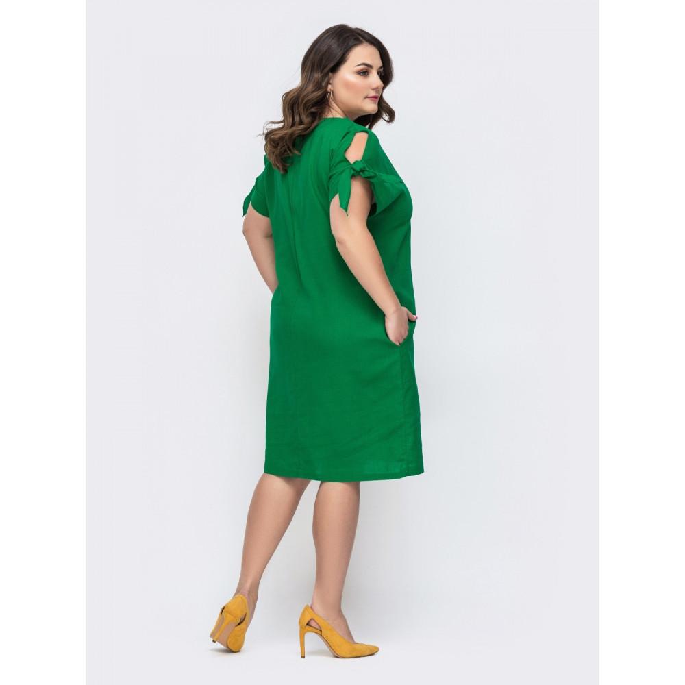 Изумрудное платье свободного кроя с карманами фото 2