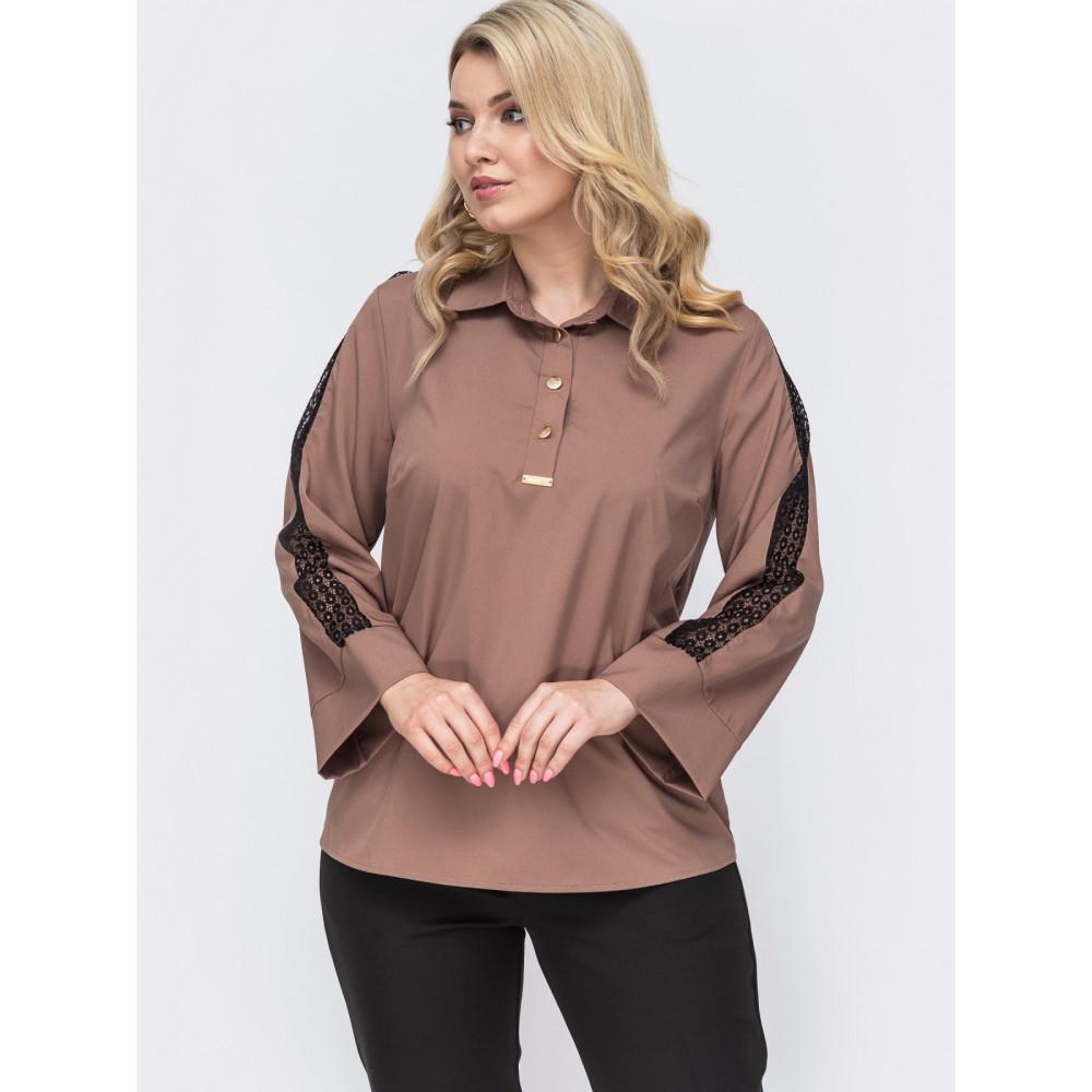 Кофейная блузка с контрастной вставкой  фото 1