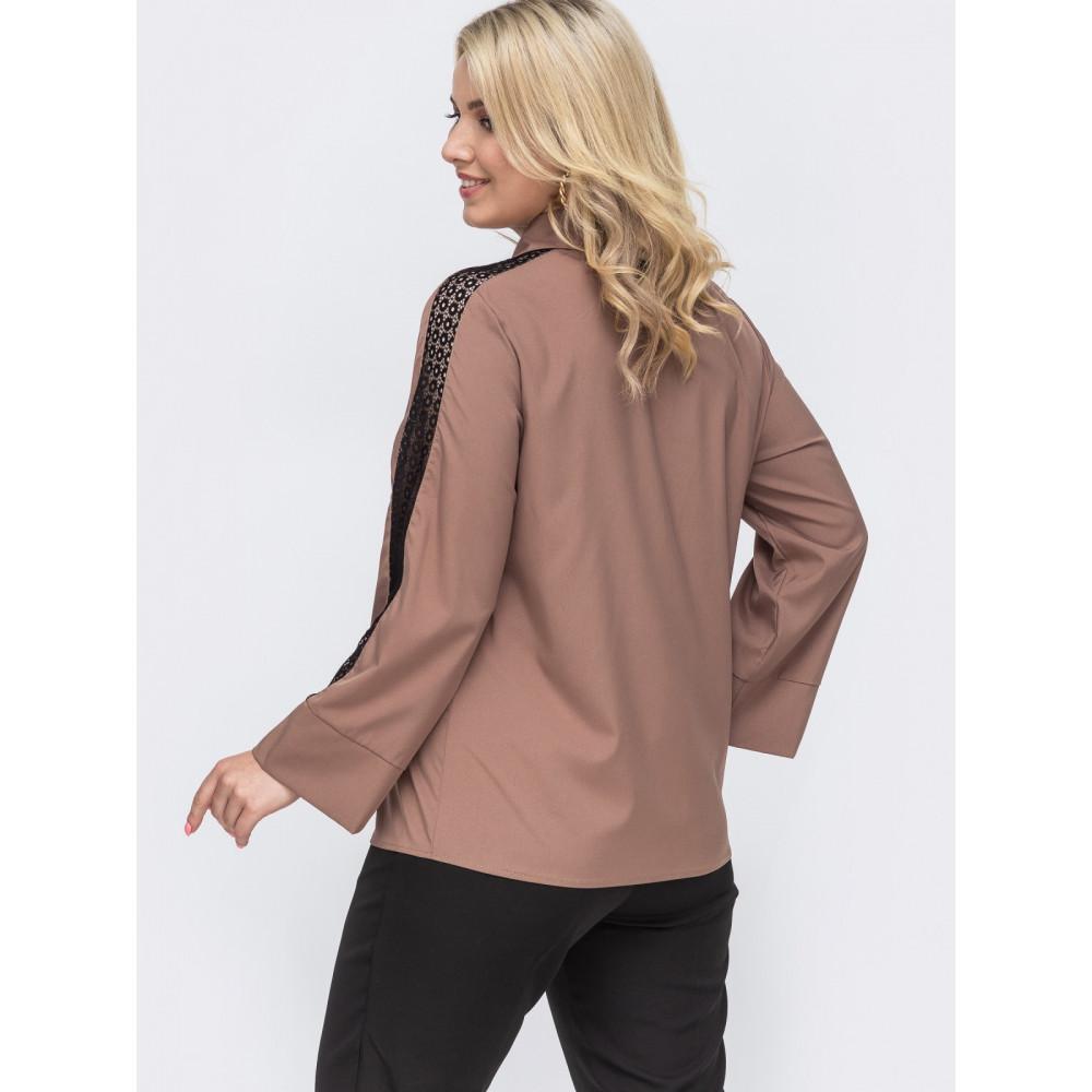 Кофейная блузка с контрастной вставкой  фото 2